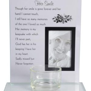 her smile glass verse frame and tealight