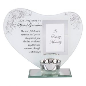 grandma memorial heart candle holder with verse