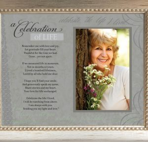 a celebration of life photo frame with verse antique brushed silver