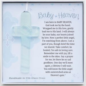 Baby In Heaven White Frosted & Clear Glass Memorial Cross