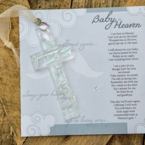 baby heaven memorial clear mosaic glass cross