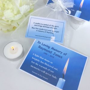 candle in memory funeral token