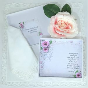vintage rose handkerchief gift box