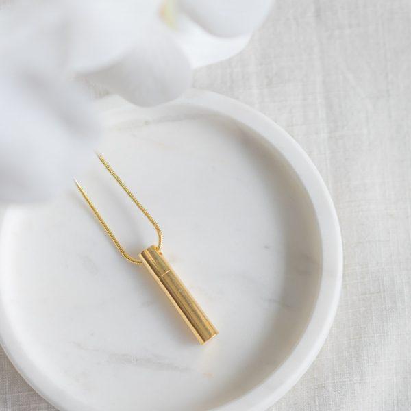 Gold Vermeil Cylinder Cremation Pendant