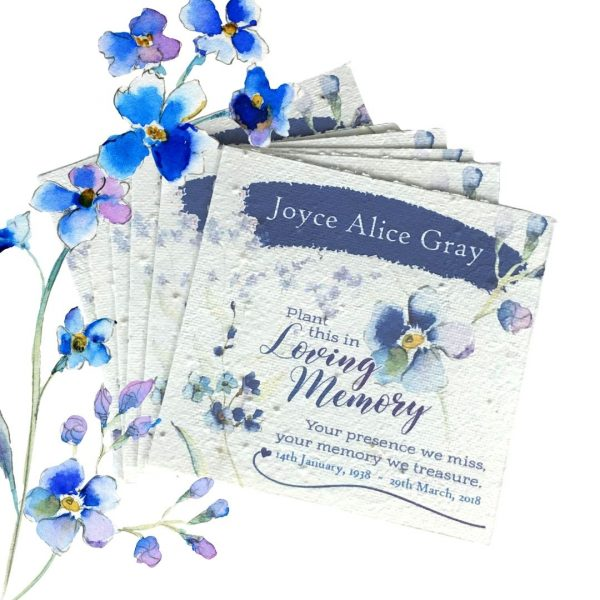 Forget Me Not Seeded Memorial Funeral Token Cards Pack 6