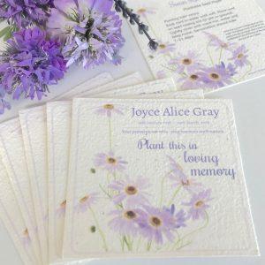 swan river daisy funeral memorial cards