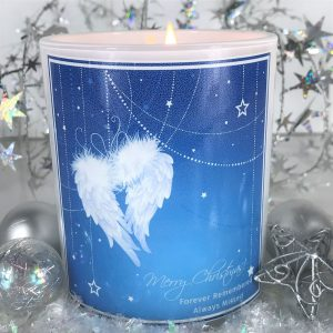 angel wings Christmas remembrance candle
