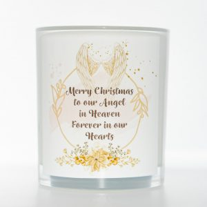 Angel Wings Christmas Memorial Candle White Background