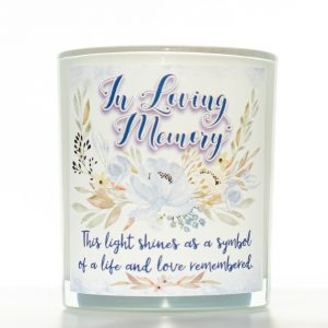 Light Shines Memorial Candle White Background