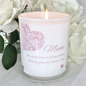 heart memorial mothers day candle lit
