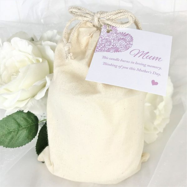 Mum Mothers Day Memorial Candle Calico Bag