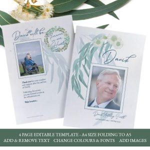 Gum Leaf 4 Page Funeral Order Of Service Program Template