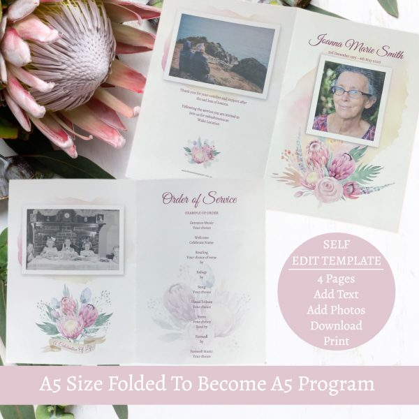 Protea Funeral Program Template All Pages
