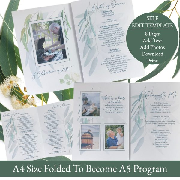 All Pages of 8 Gum Leaf Funeral Order Of Service Funeral Program