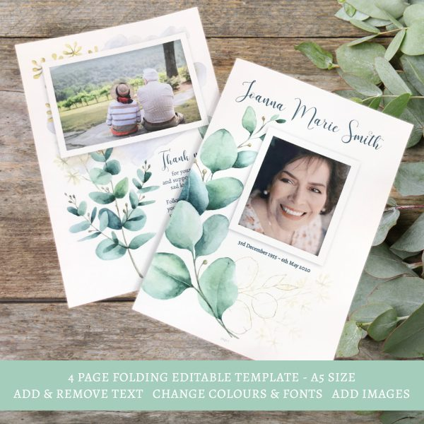 Eucalyptus Funeral Template 4 Page Order of Service Booklet