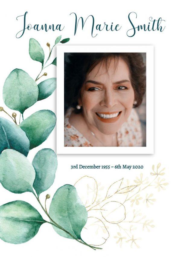 Eucalyptus Front Cover Funeral Program Template