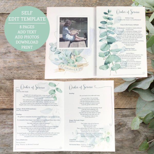 Funeral Program Template Eucalyptus 8 page Order Of Service