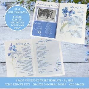 Funeral program template 8 page forget me not design