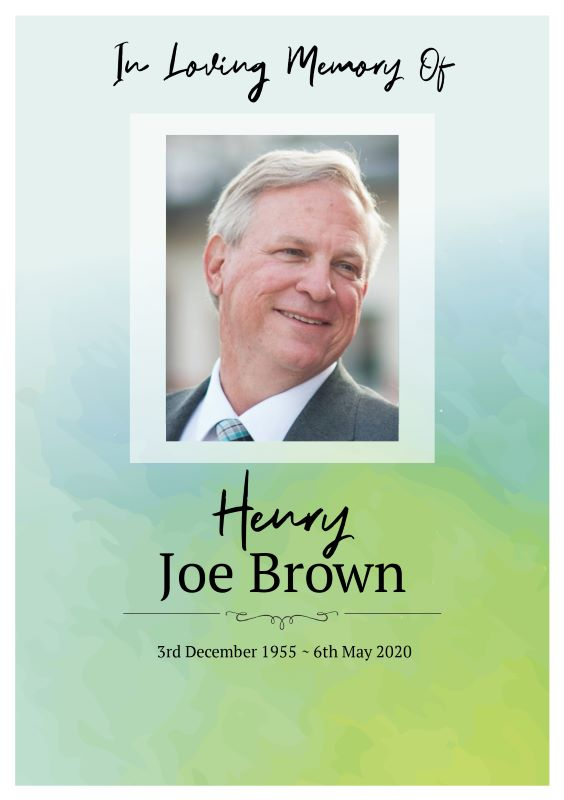 Green Water Order of Service Funeral Program Template Front Page