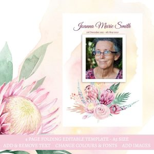 Wildflower and Protea Funeral Program Template