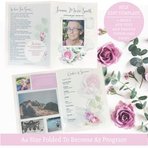 Rose Funeral Program Template Front & Back Cover 4 Page