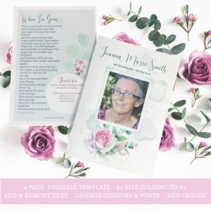 Rose Funeral Program Template 4 Page