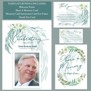 Gum Leaf Design Funeral Service Template Bundle