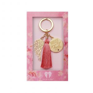 Guardian Angel Key Chain With Angel Wing and Charm