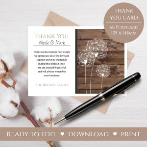 Dandelion Thank You Card Template