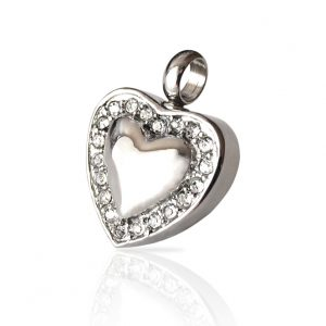 Diamante Silver Heart Cremation Keepsake Pendant