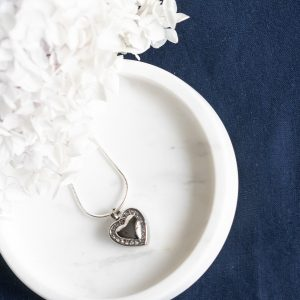 Silver Diamante Heart Cremation Keepsake Memorial Pendant
