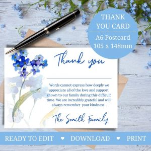 Forget me not thank you card funeral memorial service