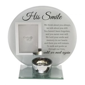 His Smile Round Glass Verse Tealight Candle Holder
