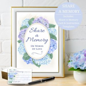 Hydrangea Share A Memory Card and Sign Funeral Templates