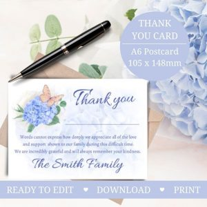 Hydrangea Thank You Card Funeral Service Template