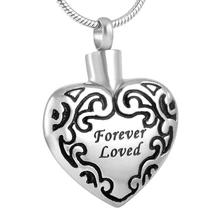 Forever Loved Heart Silver Cremation Keepsake Pendant