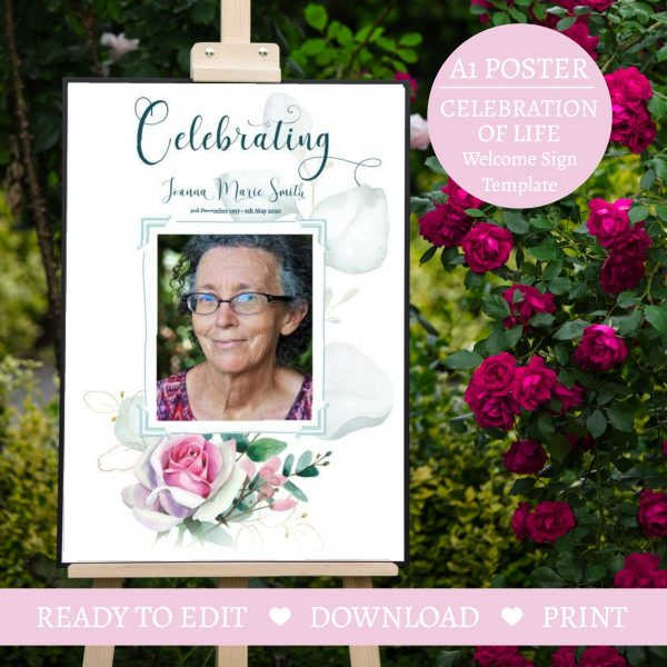 Rose Funeral Celebration Of Life Welcome Sign